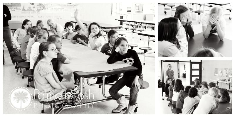 kids sitting at table, class art project