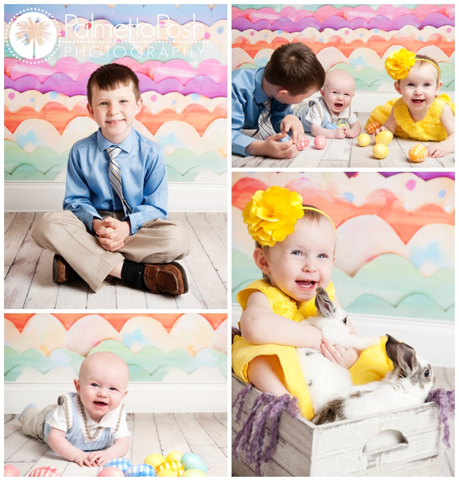 sibling easter photos with bunnies