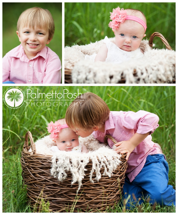 sibling photos, baby in a basket, brother kissing baby sister